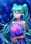 1girl blue_hair bracelet bubble closed_eyes flower hatsune_miku jellyfish jewelry long_hair necklace purple_flower qi_kou smile twintails underwater vocaloid