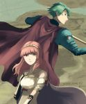 1boy 1girl alm_(fire_emblem) armor breastplate cape celica_(fire_emblem) fingerless_gloves fire_emblem fire_emblem_echoes:_mou_hitori_no_eiyuuou fire_emblem_gaiden gloves highres holding holding_sword holding_weapon jabeko looking_at_viewer pauldrons sword weapon