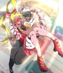 2girls arms_(game) blonde_hair blue_eyes blush boots carrying closed_eyes dark_skin dutch_angle full-face_blush hasegawa_(filthstool) highres light_rays lipstick long_hair looking_at_another makeup multiple_girls nail_polish ponytail prehensile_hair princess_carry ribbon_girl_(arms) ribbon_hair sunbeam sunlight twintails twintelle_(arms) white_hair yuri