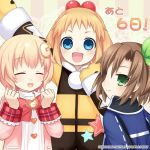 3girls blonde_hair blue_eyes blush bow brown_hair child compa company_name fang female green_eyes hair_bow hair_ornament hairband if_(choujigen_game_neptune) long_hair looking_at_viewer multiple_girls neptune_(series) official_art open_mouth pish ribbon short_hair smile sweater younger