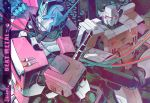 2boys 80s arm_cannon artist_request autobot blue_eyes cannon decepticon english glowing headgear holding insignia looking_at_viewer machine machinery mecha megatron multiple_boys no_humans oldschool optimus_prime personification red_eyes robot smile transformers weapon