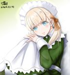 1girl alternate_costume apron artist_name bangs blonde_hair blue_eyes blush brown_ribbon buttons collared_dress commentary_request dated dress enmaided eyebrows_visible_through_hair gradient gradient_background green_background green_dress green_footwear hair_over_shoulder hair_ribbon head_tilt highres interlocked_fingers kantai_collection knees_up long_dress long_hair long_sleeves looking_at_viewer maid maid_apron maid_dress maid_headdress ribbon shadow shin'you_(kantai_collection) side_ponytail sitting smile solo tk8d32 white_background white_legwear