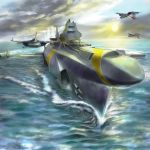 70s afterburner aircraft airplane clouds copyright_request fighter_jet igunuk jet military military_vehicle ocean oldschool original realistic science_fiction ship sun tokusatsu watercraft