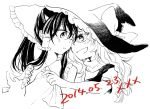 2girls :d ascot blush bow braid clothes_pull commentary couple dated forehead-to-forehead hair_bow hakurei_reimu hat hug hug_from_behind incipient_kiss kirisame_marisa long_hair monochrome multiple_girls noses_touching open_mouth shared_hat single_braid smile touhou undressing wavy_hair witch_hat yonu_(yonurime) yuri