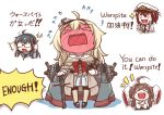 >_< 4girls absurdres ahoge black_shoes blonde_hair blush blush_stickers chibi chinese closed_eyes commentary corset dress embarrassed english female_admiral_(kantai_collection) full-face_blush glasses globus_cruciger hands_in_sleeves hat headset highres kantai_collection kongou_(kantai_collection) lightning_bolt long_hair long_sleeves machinery mary_janes military military_hat military_uniform multiple_girls naval_uniform off-shoulder_dress off_shoulder ooyodo_(kantai_collection) opaque_glasses open_mouth peaked_cap pin.s scepter shoes short_hair simple_background sleeves_past_wrists smile sparkle standing translated uniform warspite_(kantai_collection) white_background white_dress