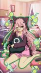 1girl animal_ears animal_hood barefoot bed bedroom cat_ears cat_tail collarbone fake_animal_ears full_body highres hood hooded_jacket indoors jacket krul_tepes long_hair looking_at_viewer one_eye_closed open_mouth owari_no_seraph pillow pink_hair pink_pajamas pointy_ears red_eyes sitting solo tail very_long_hair