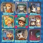6+girls :o :| animal_ears arcade_cabinet black_hair blonde_hair bow bowtie brown_eyes card card_game character_name chibi closed_mouth commentary_request common_raccoon_(kemono_friends) english expressionless ezo_red_fox_(kemono_friends) fennec_(kemono_friends) fox_ears gloves grey_hair grey_wolf_(kemono_friends) holding holding_card jacket japanese_crested_ibis_(kemono_friends) japari_symbol kaban_(kemono_friends) kemono_friends long_hair long_sleeves looking_at_another looking_at_viewer low_ponytail multicolored_hair multiple_girls northern_white-faced_owl_(kemono_friends) open_mouth orange_hair parody peeking_out playing_games raccoon_ears ramune_(ramunepod) reticulated_giraffe_(kemono_friends) rockman serval_(kemono_friends) shoebill_(kemono_friends) short_hair side_ponytail silver_fox_(kemono_friends) smile staring translation_request tsuchinoko_(kemono_friends) user_interface white_hair