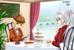 2girls animal_ears blonde_hair book bow braid cake cat_ears chair cup dungeon_and_fighter food holding holding_book holding_pen long_hair menu_board multiple_girls open_book orange_eyes pie plate pointy_ears ponytail red_bow red_eyes shaojiang silver_hair sitting table teacup window