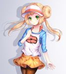 1girl bangs black_legwear blonde_hair blunt_bangs blush bow chiyu_(kumataro0x0) clenched_hand closed_mouth commentary_request cosplay cowboy_shot double_bun flat_chest gradient gradient_background hand_on_own_chest highres legwear_under_shorts light_particles lillie_(pokemon) long_hair long_sleeves looking_at_viewer mei_(pokemon) mei_(pokemon)_(cosplay) pantyhose pink_bow poke_ball_print pokemon pokemon_(game) raglan_sleeves shadow shirt short_shorts shorts sidelocks solo standing tareme twintails two-tone_background visor_cap white_cap yellow_shorts