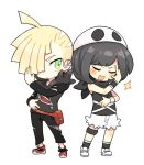 1boy 1girl black_hair black_pants blonde_hair chibi closed_eyes cosplay gladio_(pokemon) hair_over_one_eye hat hood hoodie long_sleeves mizuki_(pokemon_sm) open_mouth pants pokemon pokemon_(game) pokemon_sm pukiko short_hair shorts simple_background tank_top team_skull_grunt team_skull_grunt_(cosplay) torn_clothes torn_pants white_background white_shorts wristband