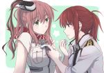 2girls absurdres adjusting_clothes anchor breast_pocket brown_eyes brown_hair commentary female_admiral_(kantai_collection) green_eyes headgear highres holding kantai_collection long_hair military military_uniform mouth_hold multiple_girls naval_uniform pin.s pocket redhead saratoga_(kantai_collection) scarf tape uniform