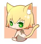 1boy animal_ears blazblue blonde_hair cat_ears cat_tail green_eyes kisaragi_jin looking_at_viewer potato_(oriha94) simple_background smile solo tail