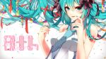aqua_eyes aqua_hair artist_request bare_shoulders blue_necktie blush breasts character_name confetti hair_ribbon hatsune_miku highres licking_lips long_hair medium_breasts nail_polish necktie paper_chain ribbon tattoo tongue tongue_out vocaloid