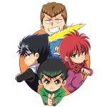 4boys black_hair brown_eyes brown_hair energy_sword finger_gun flower gakuran green_eyes green_hair grin headband hiei kameron kurama kuwabara_kazuma male_focus multiple_boys redhead rose school_uniform smile sword urameshi_yuusuke weapon yuu_yuu_hakusho