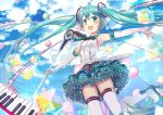 1girl armpits bad_id balloon blush clouds elbow_gloves fingerless_gloves floating_hair gloves green_eyes green_hair hatsune_miku jin_young-in long_hair magical_mirai_(vocaloid) microphone open_mouth outstretched_arms piano_keys skirt sky solo spread_arms thigh-highs twintails very_long_hair vocaloid