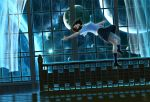 1girl black_eyes black_hair black_legwear black_skirt blue cellphone curtains dark dutch_angle galaxy indoors kneehighs mocha_(cotton) night original phone planet railing reflective_floor scenery shadow short_hair signature skirt solo space star_(sky) surreal window
