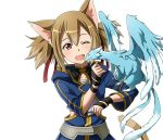 1girl ;d animal_ears breastplate brown_hair cat_ears cat_tail collarbone dragon hair_between_eyes long_hair one_eye_closed open_mouth pina_(sao) red_eyes short_twintails silica_(sao-alo) smile solo standing sword_art_online tail transparent_background twintails upper_body