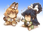 2girls animal_ears barefoot bow bowtie chibi comic commentary_request elbow_gloves flying_sweatdrops food gloves gradient gradient_background hair_ribbon hisahiko japanese_clothes japari_bun kantai_collection katsuragi_(kantai_collection) kemono_friends long_hair multiple_girls onigiri ponytail ribbon serval_(kemono_friends) serval_ears serval_print serval_tail sharing_food shirt short_hair skirt sleeveless sleeveless_shirt tail thigh-highs translation_request younger