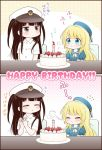 2girls 2koma adapted_costume aqua_eyes atago_(kantai_collection) beret birthday birthday_cake black_hair blonde_hair blowing brown_eyes cake candle closed_eyes comic commentary_request flying_sweatdrops food fruit happy_birthday hat kantai_collection little_girl_admiral_(kantai_collection) long_hair migu_(migmig) multiple_girls peaked_cap shirt short_sleeves strawberry table translation_request twintails white_shirt younger