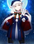 1girl bangs black_legwear blue_dress blue_gloves capelet closed_mouth cowboy_shot dress eyebrows_visible_through_hair fate/grand_order fate_(series) full_moon fur_trim gloves grey_hair hand_on_hip hat looking_at_viewer moon night outdoors pantyhose saber saber_alter santa_alter santa_costume santa_hat sidelocks solo thigh-highs uraha yellow_eyes