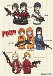 6+girls absurdres armband black_hair blonde_hair blue_eyes blush_stickers bow bowtie braid brown_eyes brown_hair bullpup fingerless_gloves fmg-9 frown glasses gloves gun h&k_mp5 h&k_mp7 hair_ornament hairclip hand_in_pocket heckler_&_koch highres jacket kac_pdw magazine_(weapon) milldoghoo multiple_girls necktie original p90 pdr-c personification pleated_skirt ponytail pp-19_bizon redhead school_uniform signature skirt smile sr-2m submachine_gun track_jacket trigger_discipline twintails weapon yellow_eyes