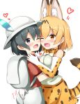 2girls ;d aikawa_ryou animal_ears backpack bag bare_shoulders black_hair blonde_hair blush cheek-to-cheek commentary elbow_gloves eyebrows_visible_through_hair gloves graphite_(medium) groping hair_between_eyes hand_on_another's_shoulder happy hat hat_feather heart highres kaban_(kemono_friends) kemono_friends multiple_girls mutual_hug one_eye_closed open_mouth orange_eyes print_bowtie print_gloves print_skirt red_shirt serval_(kemono_friends) serval_ears serval_print serval_tail shirt short_hair simple_background skirt sleeveless sleeveless_shirt smile tail traditional_media violet_eyes white_background yuri