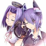 2girls akama_zenta black_gloves black_jacket cardigan checkered checkered_necktie closed_eyes eyepatch gloves headgear headphones holding_headphones jacket kantai_collection mechanical_halo multiple_girls necktie partly_fingerless_gloves purple_hair school_uniform shirt short_hair short_sleeves simple_background smile tatsuta_(kantai_collection) tenryuu_(kantai_collection) white_background white_shirt