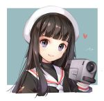 1girl black_hair blush camera card_captor_sakura daidouji_tomoyo eyebrows_visible_through_hair grey_eyes hat holding holding_camera long_hair looking_at_viewer neckerchief parted_lips smile solo teeth tracyton upper_body white_hat white_neckerchief
