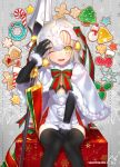 +_+ 1girl :3 artist_name bangs bell between_legs black_legwear blonde_hair blush bra candy candy_cane cookie eyebrows_visible_through_hair fate/grand_order fate_(series) food gift gingerbread_cookie gingerbread_man hand_between_legs headpiece jeanne_alter jeanne_alter_(santa_lily)_(fate) knees_together_feet_apart knees_touching lance looking_at_viewer mistletoe navel nekotawawa one_eye_closed open_mouth polearm ribbon ruler_(fate/apocrypha) short_hair sitting smile snowflakes solo thigh-highs thighs underwear weapon yellow_eyes