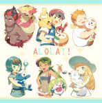 3boys 3girls alola_form alolan_vulpix backpack bag baseball_cap black_hair blonde_hair blue_eyes blue_hair blush_stickers braid dark_skin dark_skinned_male dress flower green_eyes green_hair hair_flower hair_ornament hairband haneten_kagatsu hat jewelry kaki_(pokemon) ladle lillie_(pokemon) long_hair mamane_(pokemon) mao_(pokemon) multicolored_hair multiple_boys multiple_girls necklace one_eye_closed open_mouth overalls pikachu pokedex pokemon pokemon_(anime) pokemon_(creature) pokemon_sm_(anime) popplio redhead rotom rotom_dex rowlet satoshi_(pokemon) shirt short_hair short_sleeves sleeveless sleeveless_dress sleeveless_shirt smile steenee striped striped_shirt suiren_(pokemon) sun_hat togedemaru trial_captain turtonator twin_braids twintails white_dress white_hat white_shirt z-ring