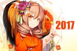 2017 animal artist_name bangs bell bird chicken commentary_request drill_hair ema eyebrows_visible_through_hair flower hair_between_eyes hair_flower hair_ornament hairclip holding japanese_clothes jingle_bell kanzashi kimono light_brown_hair looking_at_viewer meth_(emethmeth) nengajou new_year obi orange_eyes orange_kimono original purple_hair revision rooster sash signature smile upper_body white_flower year_of_the_rooster