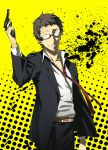1boy adachi_tooru arizuka_(catacombe) arm_up belt black-framed_eyewear black_hair black_jacket black_pants brown_eyes collarbone cowboy_shot dress_shirt glasses grin gun highres holding holding_gun holding_weapon jacket looking_at_viewer pants persona persona_4 shirt short_hair simple_background smile solo spoilers standing uniform very_short_hair weapon white_shirt yellow_background