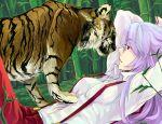 akatsuki_(pixiv35473) animal arms_behind_head arms_up eyelashes fujiwara_no_mokou hands_behind_head lavender_hair lying red_eyes suspenders tiger touhou