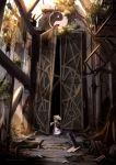broken_glass chain chains door dress glass highres long_hair mashayuki overgrown ruins scenery sunset tabard touhou umbrella yakumo_yukari yin_yang