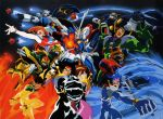 ball_and_chain blue_eyes bodysuit bolt_gundam brown_hair chibodee_crocket domon_kasshu dragon_gundam fire g_gundam george_de_sand god_gundam gundam gundam_maxter gundam_rose hand_holding highres holding_hands mecha mobile_trace_suit punch punching rain_mikamura sai_saici short_hair tango