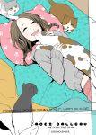 bed braid brown_hair cat happy highres lying original pillow pillows sweater twin_braids