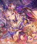1girl animal bird blush breasts chick company_name copyright_name flower hair_flower hair_ornament holding holding_wand large_breasts long_hair official_art parted_lips sengoku_saga silver_hair smile teeth twintails violet_eyes wand yeonwa