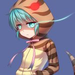 1girl blue_background eyebrows_visible_through_hair frown glowing glowing_eye green_eyes green_hair hands_in_pockets highres hood hoodie kemono_friends long_sleeves looking_at_viewer pink_ribbon ribbon shaded_face simple_background sion_(sion9117ys) snake_tail solo striped_hoodie tsuchinoko_(kemono_friends) upper_body
