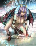 1girl bare_shoulders blush breasts cleavage clenched_teeth collar collarbone cuffs dragon_girl dragon_horns dragon_tail dragon_wings full_body gyakushuu_no_fantasica hair_between_eyes horns kneeling large_breasts long_hair looking_at_viewer official_art purple_hair ryuki@maguro-ex scales shackles shirt solo tail tattoo teeth torn_clothes torn_shirt wings yellow_eyes