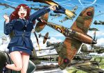 1girl aerial_battle aircraft airplane balkenkreuz battle breasts clouds condensation_trail hat he_111 historical_event large_breasts luftwaffe mc_axis military panties parachute peaked_cap royal_air_force sao_satoru solo supermarine_spitfire underwear uniform wehrmacht world_war_ii