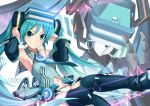 1girl absurdres aqua_hair armpits bare_shoulders black_legwear blue_eyes blush breasts eyebrows_visible_through_hair hatsune_miku highres jie_laite long_hair looking_at_viewer medium_breasts navel panties robot smile solo thigh-highs twintails underwear virtual_reality vocaloid white_panties