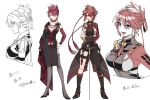 2girls asymmetrical_legwear black_boots boots breasts butterfly choker cleavage dual_persona full_body grey_eyes hand_on_hip igote multiple_girls ookanehira_(touken_ranbu) redhead rope short_hair shuri_(84k) sworf thigh_strap touken_ranbu