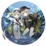 2boys cape chestnut_mouth circle dual_persona fireflies green_eyes hair_flaps hand_holding hat hotarumaru looking_at_viewer male_focus military military_uniform multiple_boys night peaked_cap salute sm_chika smile sock_garters touken_ranbu tree twitter_username uniform v