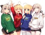 4girls :d :o ^_^ ahoge arts_shirt black_skirt blonde_hair blush buster_shirt closed_eyes closed_mouth cowboy_shot expressionless extra_attack_shirt fate/grand_order fate_(series) grey_eyes grey_hair hair_intakes half_updo hood hoodie ichinose_yukino index_finger_raised looking_at_another looking_at_viewer multiple_girls open_mouth pleated_skirt ponytail quick_shirt saber saber_alter saber_extra sakura_saber short_hair short_hair_with_long_locks shorts sidelocks simple_background skirt smile white_background yellow_eyes