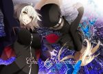 2girls ahoge arm_up bangs black_dress black_shorts blonde_hair breasts brown_eyes butterfly dress eyebrows_visible_through_hair falling fate/grand_order fate_(series) fur_trim grey_hair grin hair_between_eyes highres hood hoodie jacket jeanne_alter large_breasts looking_at_viewer multiple_girls open_clothes open_hoodie open_jacket parted_lips ponytail profile ruler_(fate/apocrypha) saber saber_alter short_shorts shorts sidelocks smile vane yellow_eyes