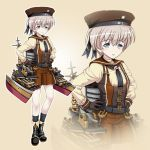1girl alternate_costume beige_background boots grey_eyes hands_on_hips hat kantai_collection looking_at_viewer machinery pleated_skirt sailor_hat short_hair silver_hair simple_background skirt smile solo steampunk tk8d32 turret z1_leberecht_maass_(kantai_collection) zoom_layer