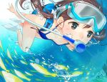 1girl air_bubble ama_mitsuki bangs bikini blue_bikini blush breasts brown_hair collarbone diving_mask fish flippers floating_hair goggles goggles_on_head grey_eyes hair_ornament hair_scrunchie long_hair looking_afar low_twintails original school_of_fish scrunchie scuba scuba_gear small_breasts solo swimsuit twintails underwater you're_doing_it_wrong
