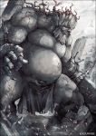 beard clenched_teeth commentary_request cracked facial_hair fat fate/grand_order fate_(series) full_body giant kei-suwabe loincloth monster pillar shattered solo spriggan_(fate/grand_order) standing stone stone_pillar sword teeth twitter_username weapon