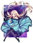 1girl artist_name black_legwear blonde_hair flower highres long_hair looking_away night night_sky original pantyhose petals purple_rose rewolf rose sky solo star_(sky) starry_sky violet_eyes