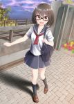 1girl black_eyes black_hair glasses looking_at_viewer nekobaka original outdoors pleated_skirt school_uniform serafuku short_hair skirt solo standing